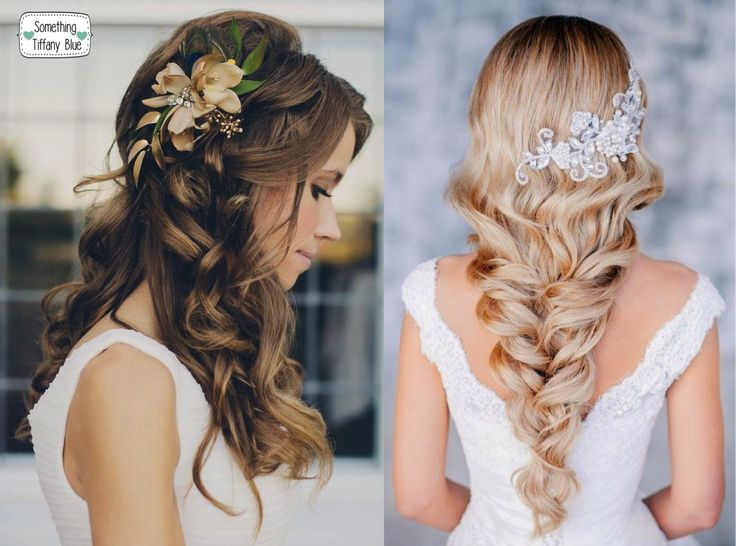 ACCONCIATURE SPOSA CAPELLI LUNGHI: MORBIDE ONDE E TRECCE  By www.SomethingTiffanyBlue.com