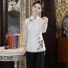 Adorable Flroal Print White Cheongsam Qipao Shirt - Chinese Shirts & Blouses - Women