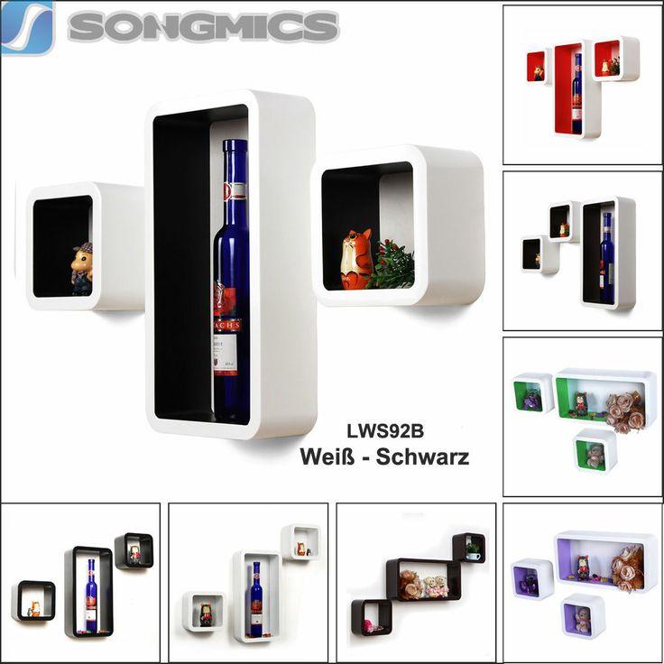 Songmics 3er set Wandregal Hängeregal Bücherregal Regal Cube Lounge CD-regal