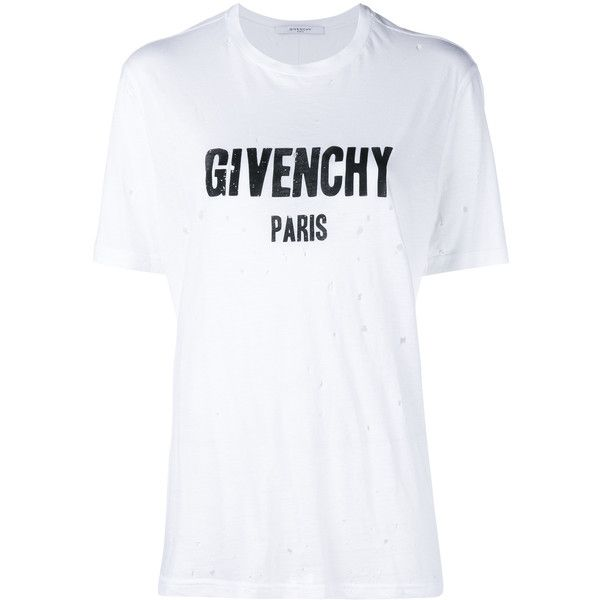 Givenchy Distressed Logo T-Shirt found on Polyvore featuring tops, t-shirts, cotton logo t shirts, cotton tee, distressed tee, givenchy tee and ripped t shirt