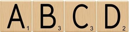 Free printable instant display digital lettering set with a scrabble tiles theme. Also includes numbers and symbols.