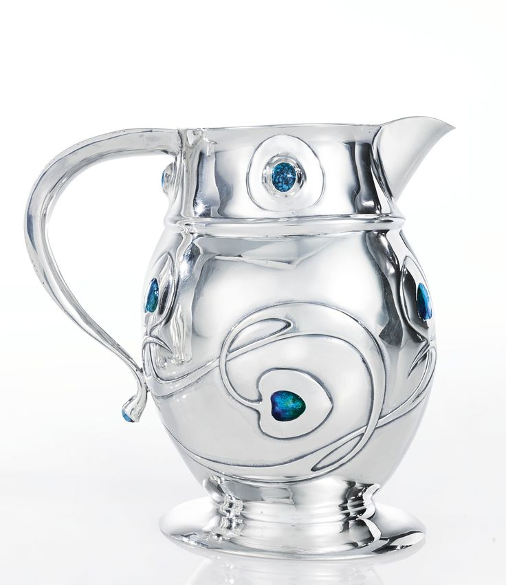 """Archibald Knox A RARE """"CYMRIC"""" TANKARD impressed L&Co/CYMRIC and with Birmingham Assay Office marks  silver, turquoise and enamel 1902 produced by Liberty & Co."""