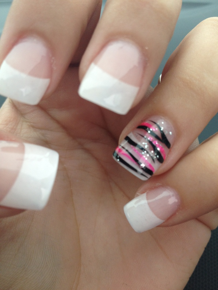 French tip with pink and black zebra stripes on ring finger. I think Id like it with pink tips though.