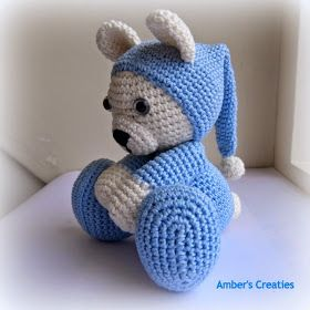 #haken, gratis patroon, amigurumi, Bit of Color: Beer in pyama, teddy, knuffel, speelgoed, #haakpatroon, Nederlands