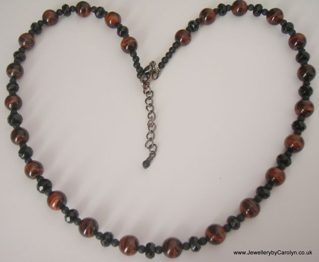 Red Tiger's Eye, Black Onyx and Frosted Black Agate Necklace £15.00