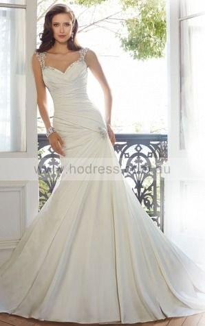 Princess Cap Sleeves Sweetheart Backless Floor-length Wedding Dresses feaf1013