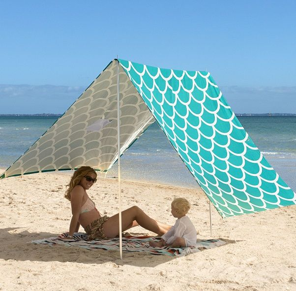 Beach Sombrilla - Aqua Shells #limetreekids