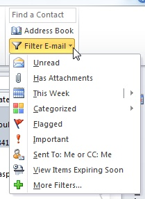 Filtering emails in Outlook