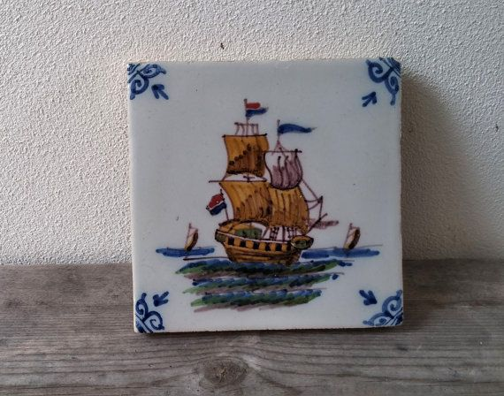Vintage Dutch tile Nautucal Hand Painted by VerbruggeWatercolor