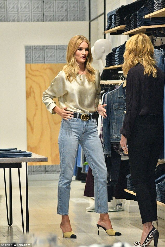 Looking good: The English model looked to be in the process of shopping for…