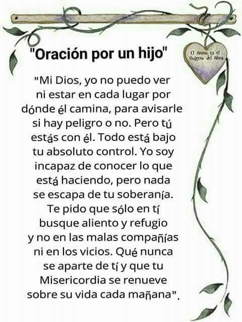 α JESUS NUESTRO SALVADOR Ω: ORACION POR UN HIJO, Señor Jesús yo no puedo ni es...