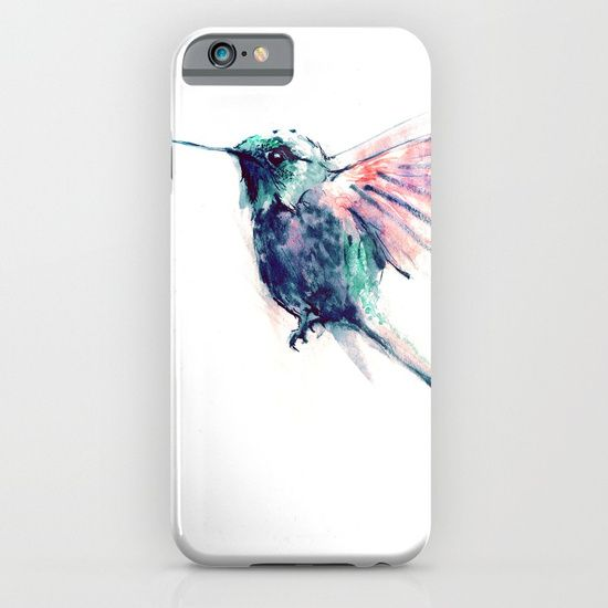 cellphone case, painting  watercolor  ink  illustration   realism  bird  wings  colors   fly  forest  woods  hummingbird   flower