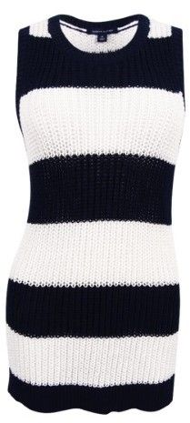 Tommy Hilfiger Women's Striped Sleeveless Sweater (Masters Navy/Snow White, XL)
