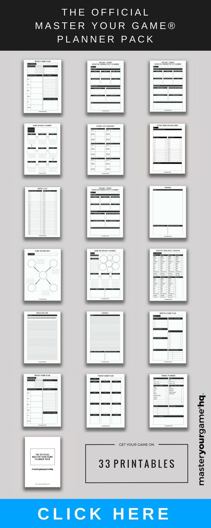 33 game planning printable and fillable instant downloads to help Master Your Game in business and life.