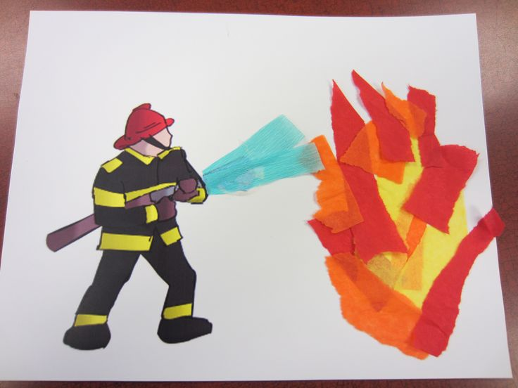 A pre-printed firefighter picture and torn tissue paper made a simple, yet fun, craft for our Terrific Twos storytime members.
