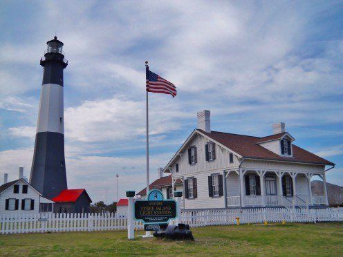 Tybee Island Lighthouse compound. Includes lighthouse keeper's and assistant's quarter's, summer house, typical Tybee Island vacation house and gift shop.