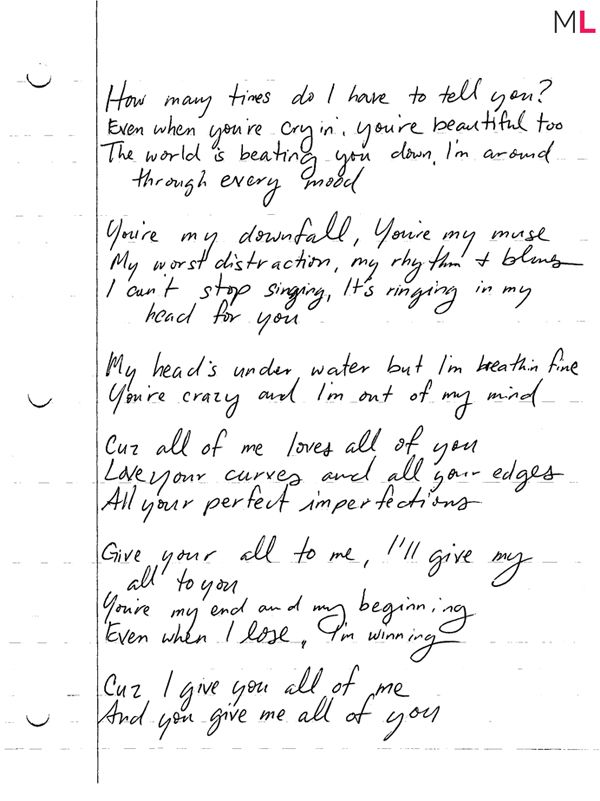 "John Legend's Handwritten ""All Of Me"" Lyrics 