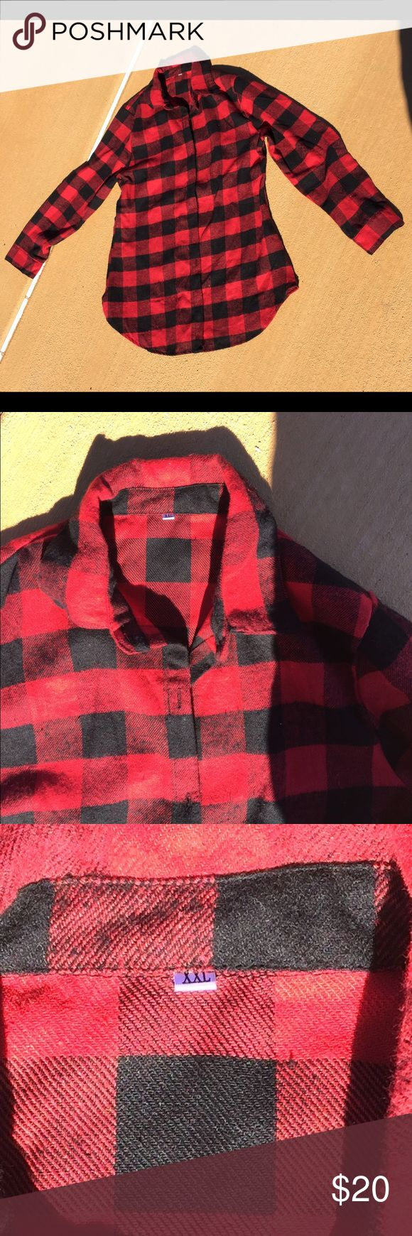 ❤️ Long Flannel Shirt Cute With Leggings ❤️ ❤️ Long Flannel Shirt Cute With Leggings ❤️ This shirt fits like a Medium into way a XXL !! It's soft !!! And if it fit me I'd keep it 😊 Tops Button Down Shirts