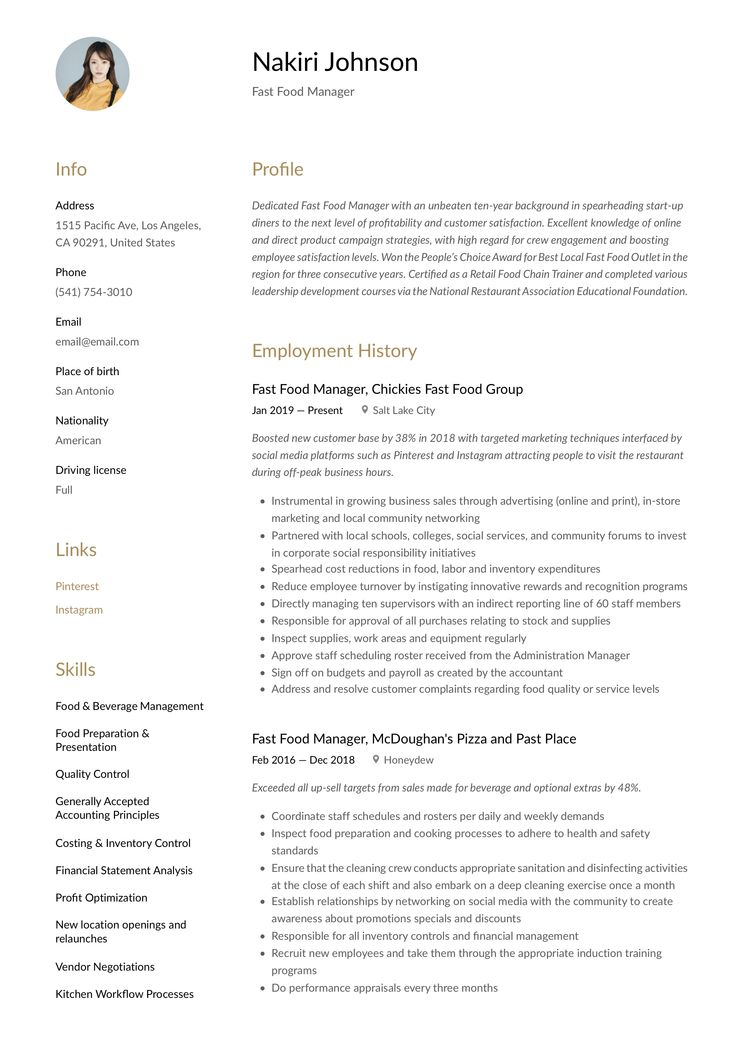 Fast food manager resume template guided writing