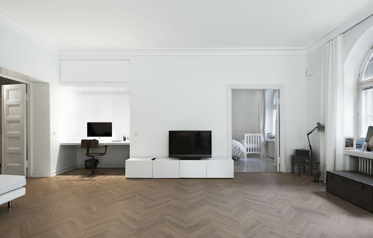 #interior #scandinavian #finnish #penandhammer livingroom with chevron floor.  Office space and large doors into bedroom with grey  wooden floors. Our house.