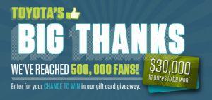 Toyota Canada Toyota's Big Thanks Contest
