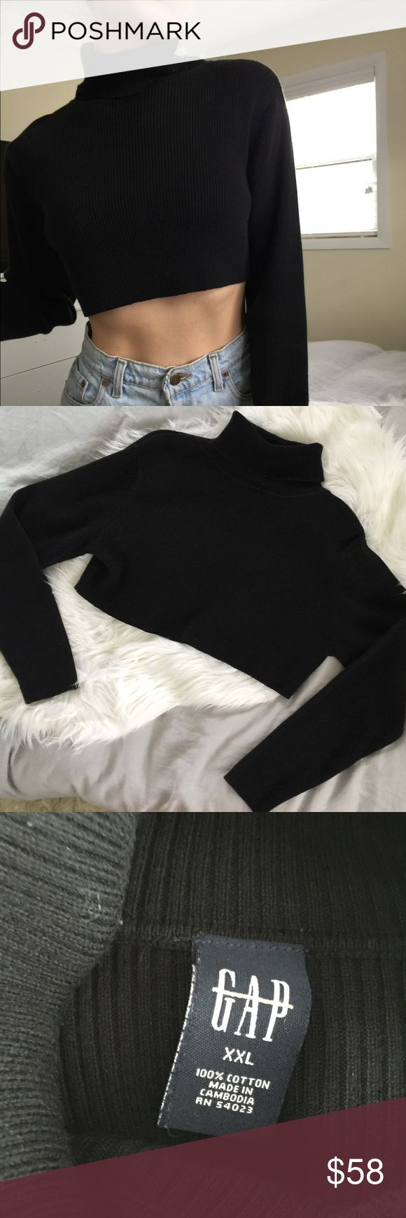 90s GAP Oversized Crop Turtleneck | Black | XXL Trending! Vertical ribbed cropped turtleneck.   Vintage 90s Gap Style.   Wear oversized if smaller or true to size at XXL GAP Tops Crop Tops