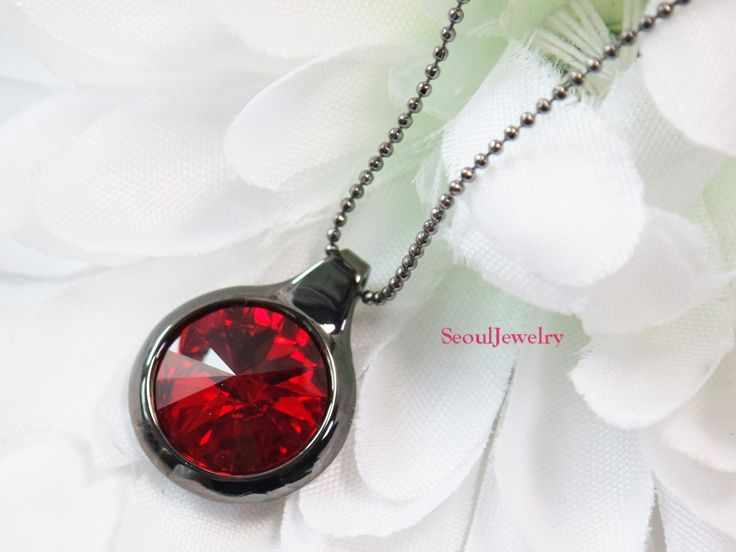 Black Necklace with Light Siam by SeoulJewelry on Etsy