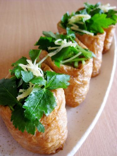 Inari Sushi with Minced Meat and Bamboo Shoots