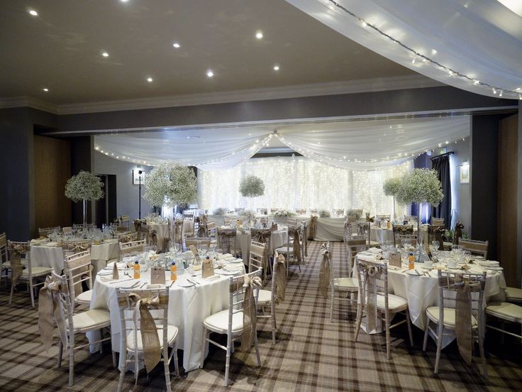 Beautiful wedding breakfast layout in the Bannister Suite. Gypsophila from our fabulous Florists.