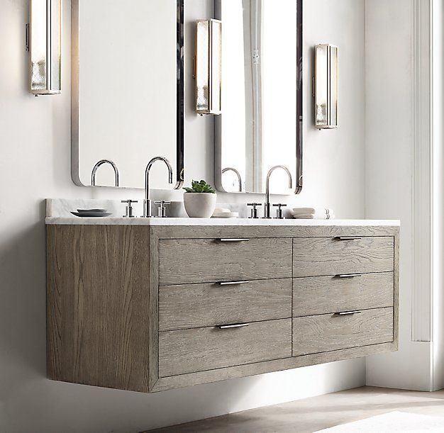 RH Modern's Machinto Double Floating Vanity:Designed by the Van Thiels, our collection mixes bold proportions and clean, mitered lines in a style that's both rustic and refined. Inspired by 1970s postmodern design, it features American white oak hand finished to highlight its warmth and naturally rich grain.