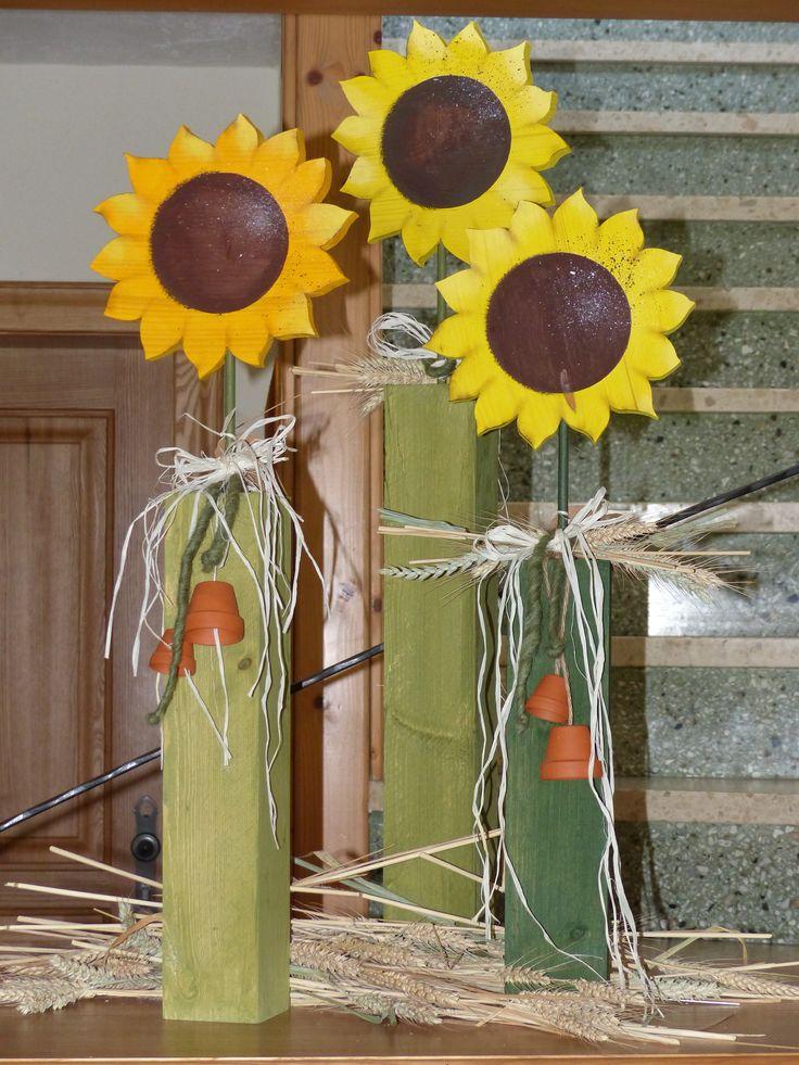 Holzpfosten sonnenblumen herbst holzpfosten pinterest for Sommerdeko aus holz