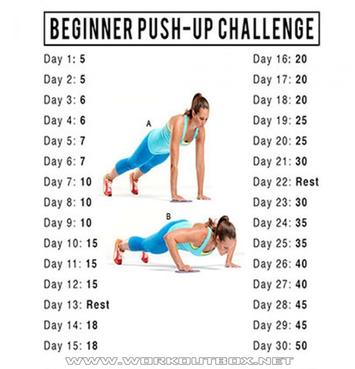30 Day PushUp Challenge - Healthy Fitness Training Chest Arms Ab - FITNESS HASHTAG