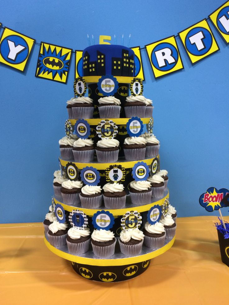 Batman cupcake tower