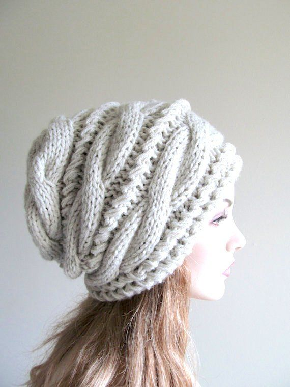 Slouchy Beanie Slouch Hats Oversized Baggy Gray cabled hat womens ...