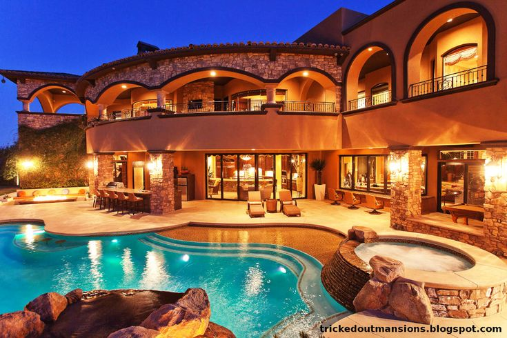 luxury pools | Beautiful las vegas mega mansion. View from the backyard.