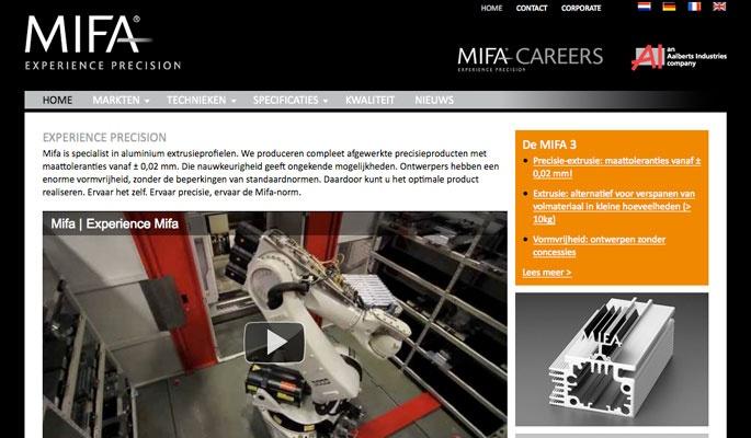 Ontwerp website MIFA Corporate