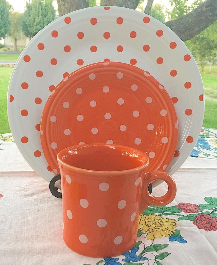 Fiesta® Poppy Polka Dots Dinnerware made by Homer Laughlin China Company.