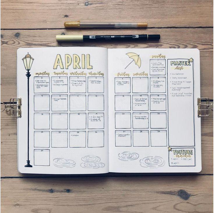 20 monatliche Layouts für Ihr Bullet Journal – Ideen und Inspiration