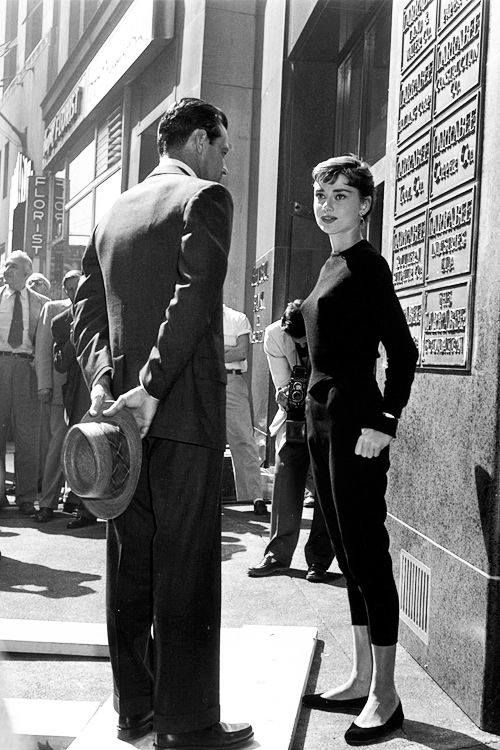 Audrey Hepburn and William Holden on the set of Sabrina, 1953.
