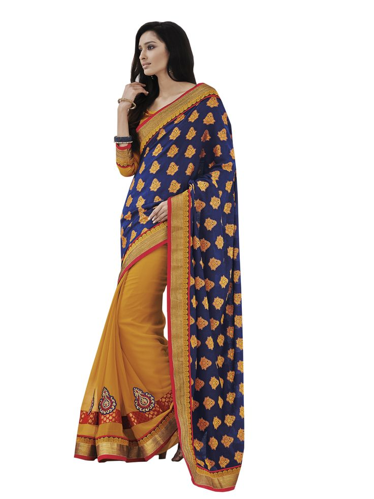@Sensious Violet Jacquard Half and Half Saree.. Pricing Call Us or What's App Us on :- +91 99099 59528 Please Visit Our Site:=> #www.sareemall.in Email Us on:- support@sareemall.in