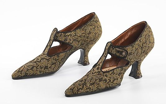 """This pair of T-strap shoes exemplifies a mid-range product from Brooklyn, once an important center of fashionable shoe production in the late 19th & early 20th centuries. High fashion shoes were known generically in the industry as """"Brooklyn shoes."""""""