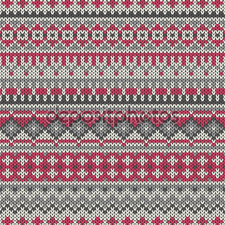Vector illustration of knitted seamless pattern in traditional Fair Isle style