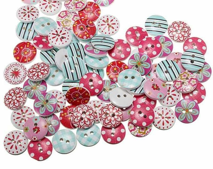 Cute Floral Flower 15mm WOOD BUTTONS Art Craft Clothing Sewing Dress Making 100