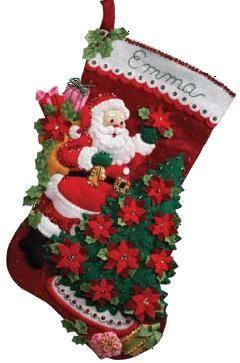 Bucilla Santa Poinsettia Tree Felt Christmas Stocking Kit