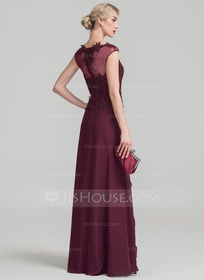 A-Line/Princess Sweetheart Floor-Length Chiffon Lace Mother of the Bride Dress With Beading Sequins Cascading Ruffles (008114229)