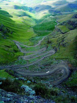 Sani Pass road runs from Kwa Zulu-Natal in South Africa to Lesotho in the Drakensberg. It is a notoriously dangerous road.