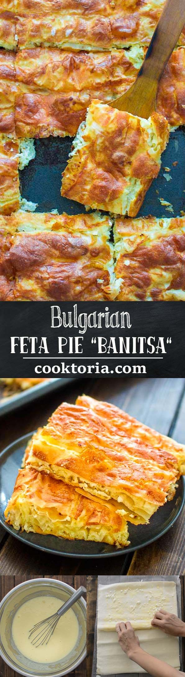 """This delicious Bulgarian Feta Pie """"Banitsa"""" is a true gem of Balkan cuisine. Made with layers of filo dough, crumbled feta, and eggs, it makes a perfect breakfast or mid-day snack."""