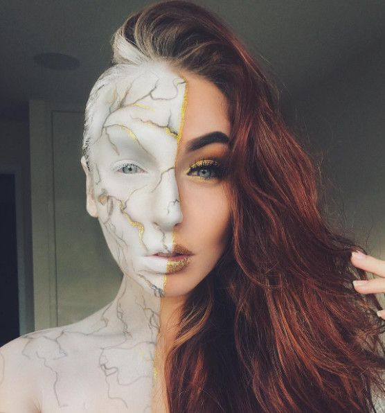 Marble Queen - The Most Hauntingly Gorgeous Halloween Makeup Looks - face painting halloween makeup ideas