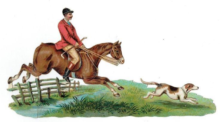 Un chromo - Découpis  - Cheval - Chasse à courre avec chien  --  fr.picclick.com