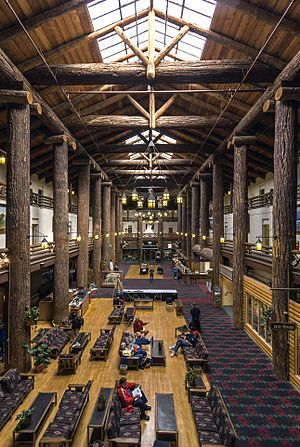 East Glacier Lodge..  Looks like a forest with those log columns.(brought in from Oregon)